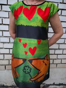 Dress with Print  two  Foxes  promo