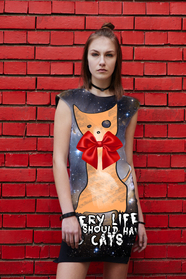 Dress with Print cosmic kitty