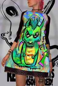 Dress with Print Cute Dragon - long sleeve