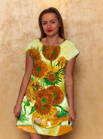 Dress with Print Sunflowers  Van Gogh