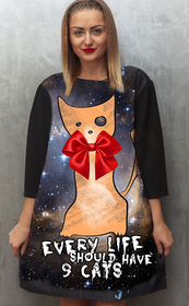 Dress with Print Cosmic Kitty - long sleeve