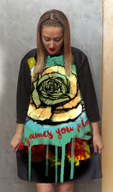 Dress with Print Yellow Rose