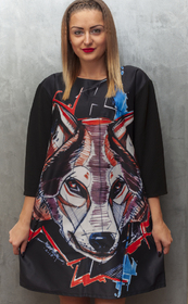 Dress With Wolf Drawing Printed long sleeves